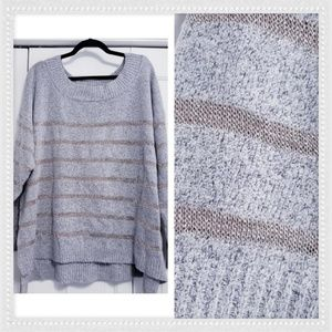 LANE BRYANT 22/24 Heather Gray Boat Neck Sweater
